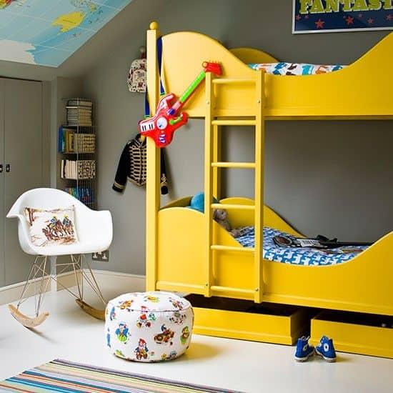 παιδικά κρεβάτια σε κίτρινο χρωμα